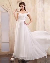 White Cap Sleeve Bridesmaid Dresses Floor-Length For Women