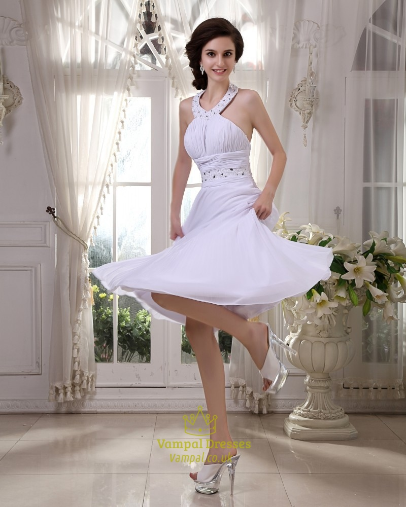 Short White Halter Neck Dress White Halter Top Summer