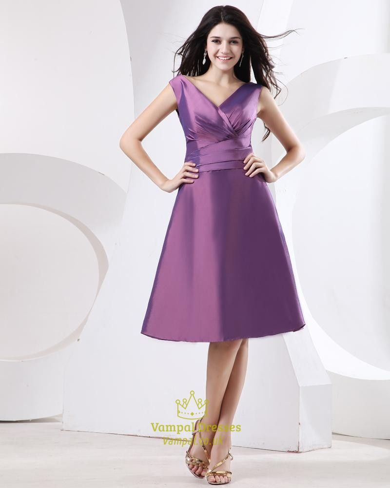Short Purple Taffeta Prom Dress,Purple Dresses With Sleeves,Purple ...
