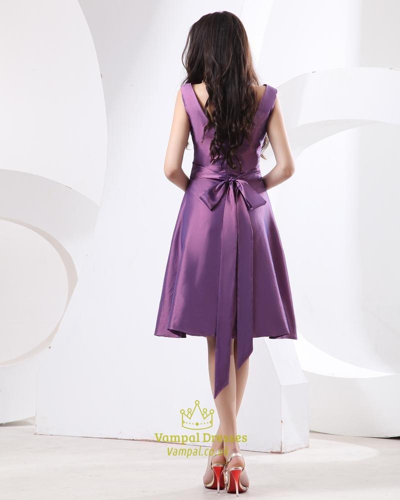 Short Purple Taffeta Prom Dress,Purple Dresses With Sleeves,Purple ...