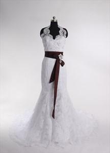 Lace Halter Top Wedding Dresses,Backless Halter Neck Wedding Dress