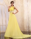 Yellow One Shoulder Maxi Dress,One Shoulder Yellow Chiffon Dress