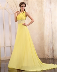 Yellow One Shoulder Maxi Dress,One Shoulder Yellow Chiffon Dress