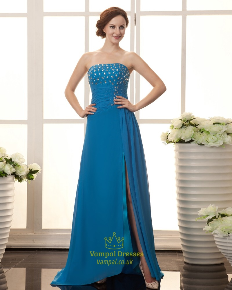 Light Blue Strapless Sweetheart Prom Dress,Blue Prom Dresses With ...