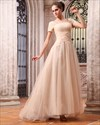 Light Gold Prom Dresses With Sleeves,Gold Evening Dresses With Sleeves