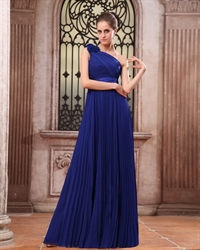 One Shoulder Chiffon Gown With Floral Appliques Style,One Shoulder Royal Blue Prom Dress