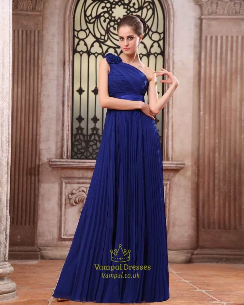 Royal Blue One Shoulder Bridesmaid Dresses,One Shoulder Chiffon Gown ...