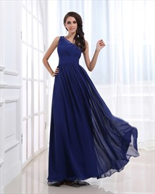Royal Blue One Shoulder Bridesmaid Dresses,One Shoulder Blue Chiffon Dress