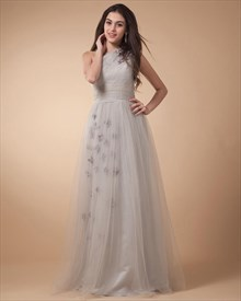 Satin And Tulle Asymmetrical Pick-Up Gown,Satin And Tulle Floral Accented Dress