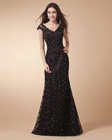 Black Lace Mermaid Prom Dress,Lace Prom Dresses Vintage UK