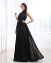 Strapless Prom Dresses With Open Back,Black Lace Halter Neck Dress