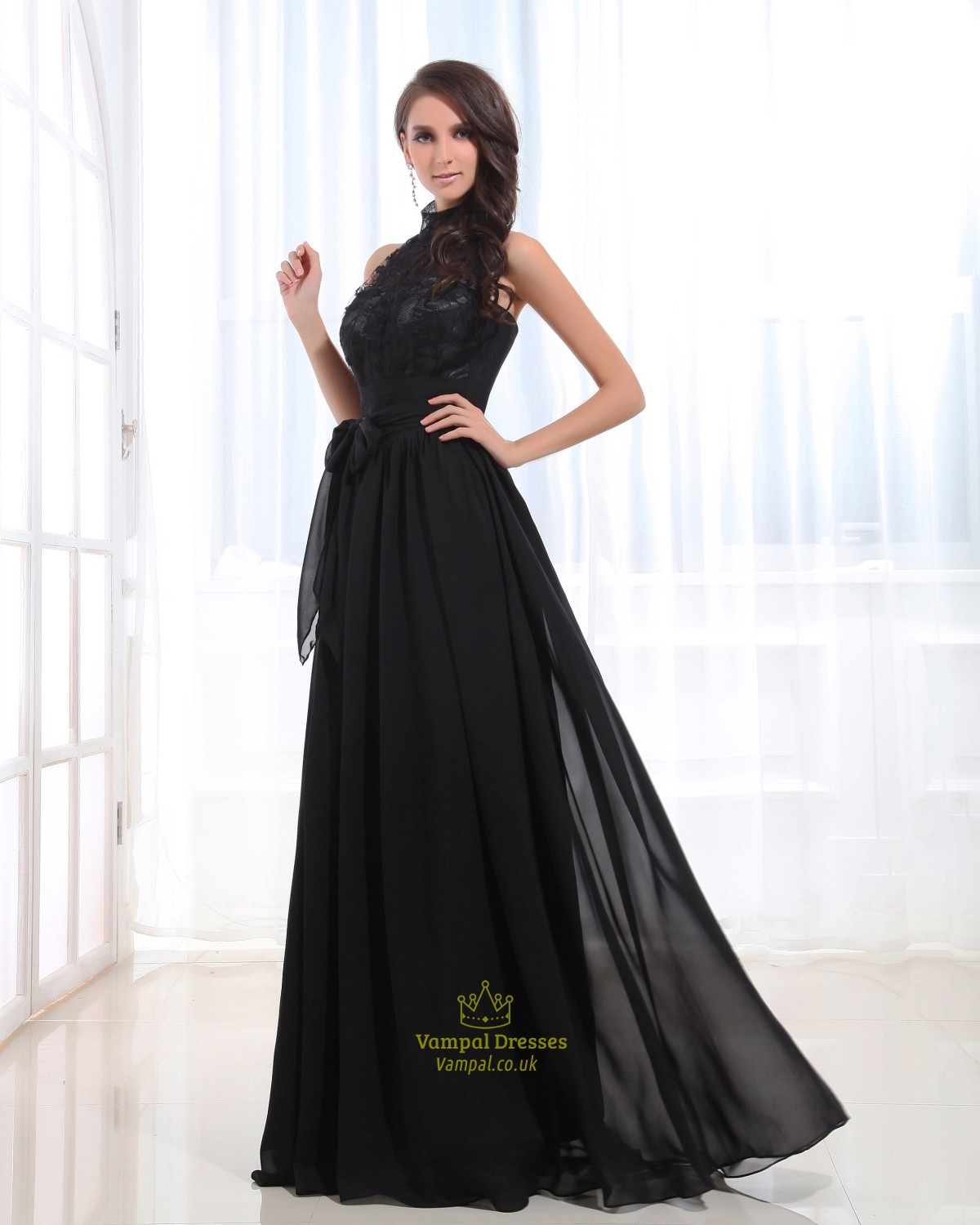 Black Halter Neck Prom Dress
