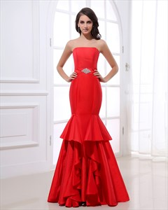 Red Mermaid Style Prom Dresses, Strapless Red Mermaid Prom Dress