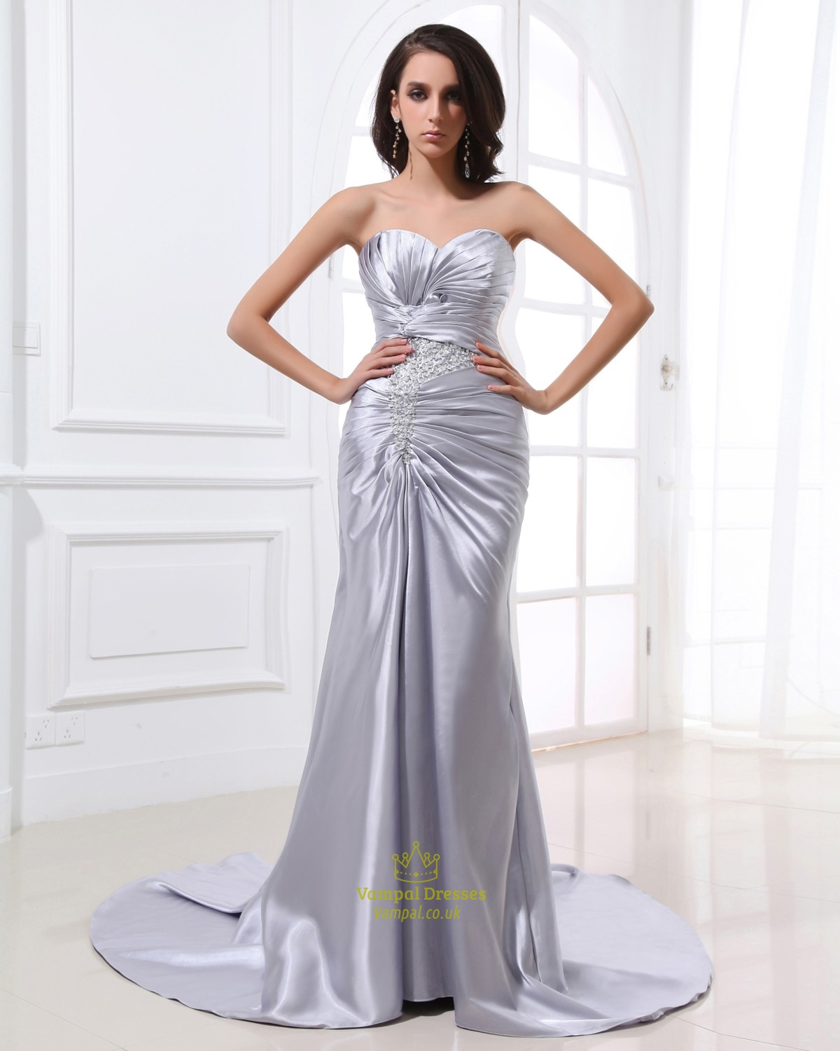 A-Line Grey Taffeta Sweetheart Strapless Prom Dresses Evening Gown ...