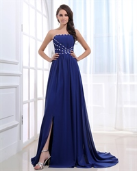 Strapless Royal Blue Prom Dresses With Rhinestones,Royal Blue Rhinestone Prom Dress