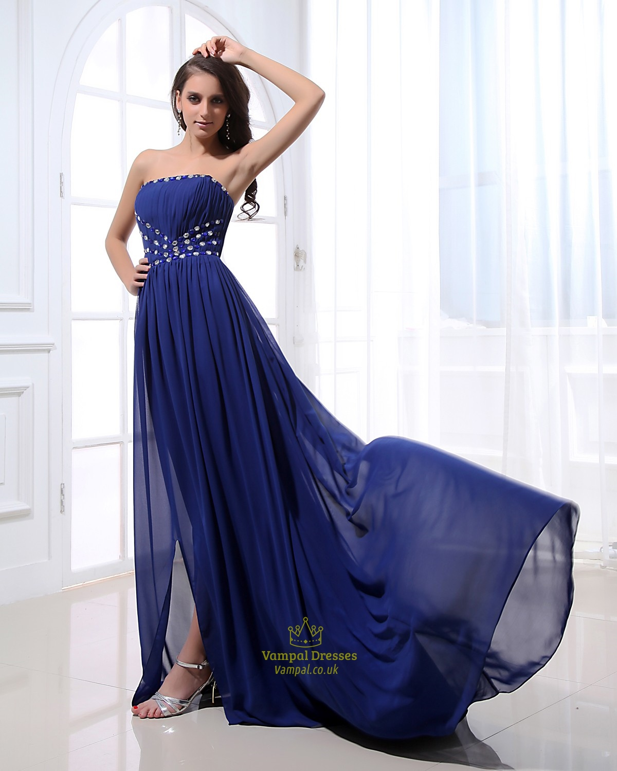 Strapless Royal Blue Prom Dresses With Rhinestones,Royal ...