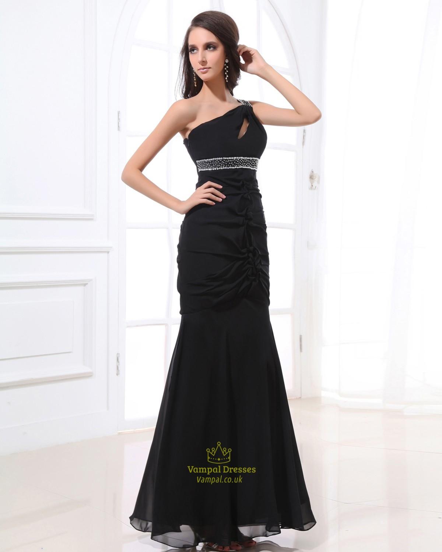 Black Dress With Sequin Shoulders,Black Sequin One ... One Shoulder Black Prom Dress