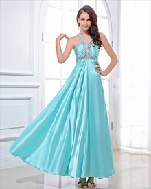 Jade Pleated Halter Maxi Dress 2019,Sky Blue Halter Neck Maxi Dress