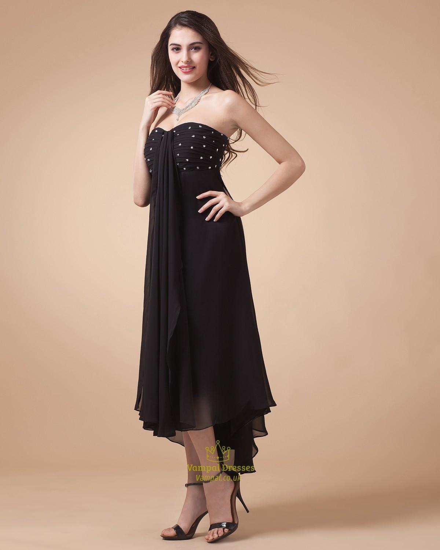 black strapless high low prom dressblack high low prom
