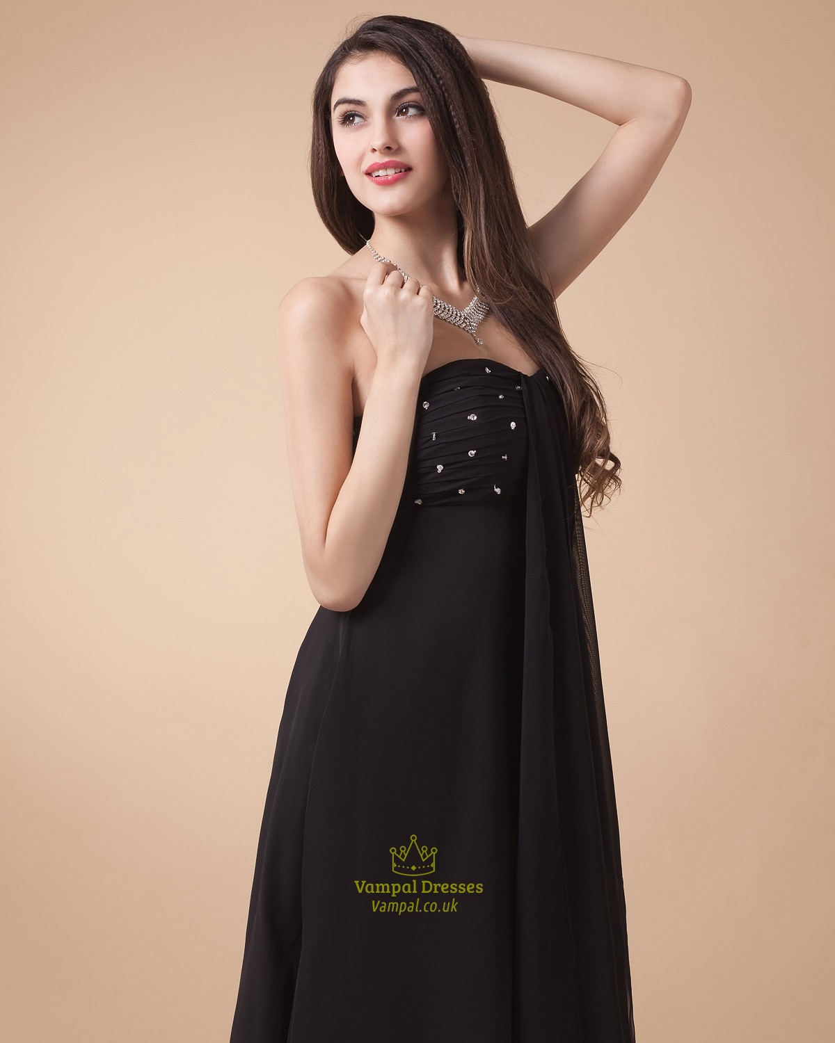 black strapless high low prom dressblack high low prom