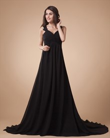 Black Lace Straps Maxi Prom Dresses 2019,Black Wedding Dresses 2019