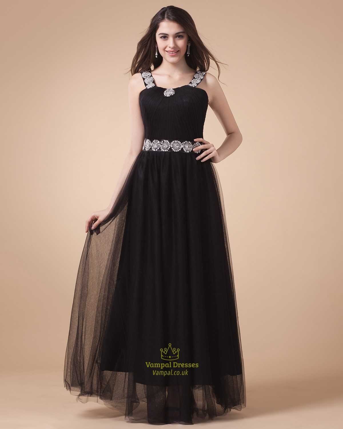 Black Two Straps Prom Dresses,Black Prom Dresses With Diamonds ...