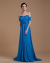 Turquoise Off Shoulder Top Long Prom Dress 2021 UK With Open Back