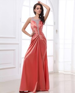 Coral Prom Dresses With Beaded Straps,Pink Salmon Prom Dresses 2021