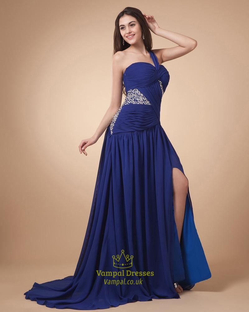 Royal Blue One Strap Prom Dresses,Prom Dresses Long With Slits On The Side