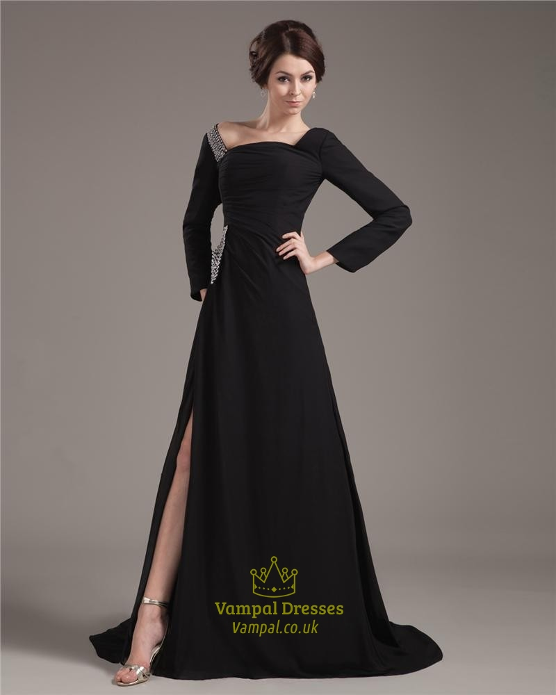 Black Prom Dresses With Long Sleeves,Formal Black Dresses With ...