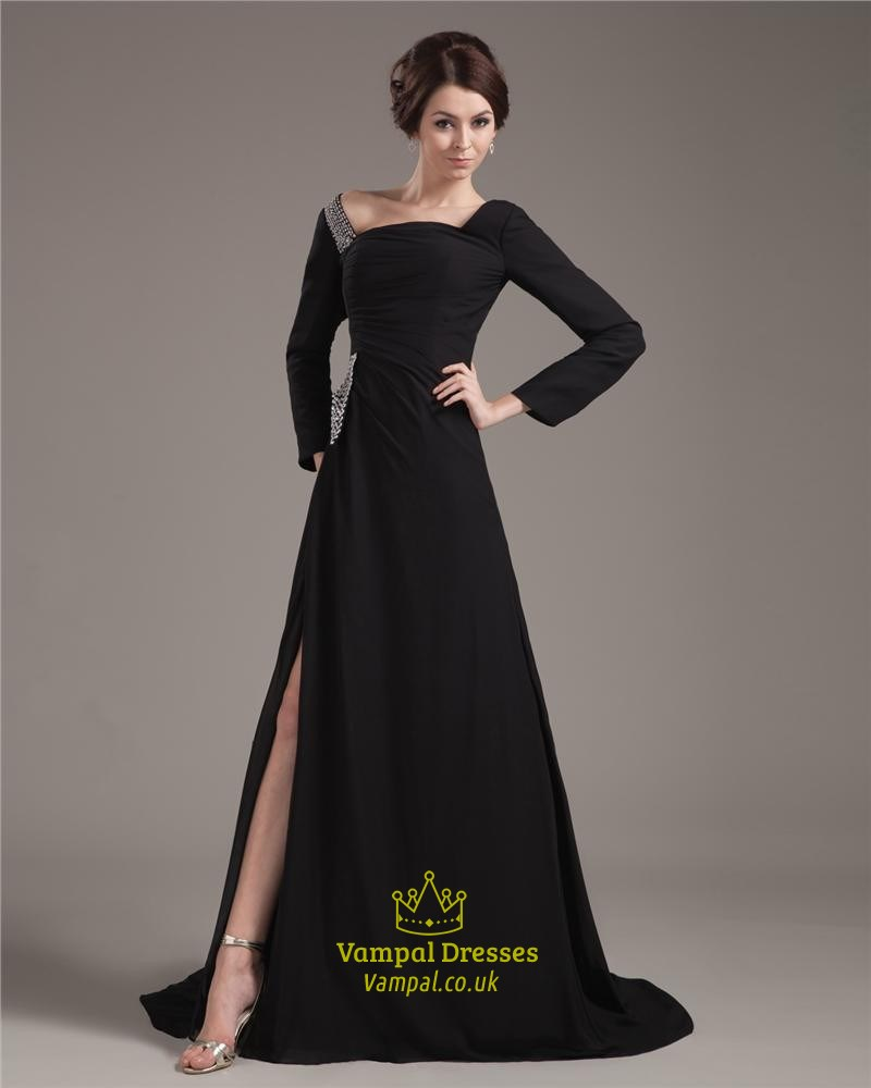 Black Prom Dresses With Long Sleeves Formal Black Dresses With Sleeves And Slits Vampal Dresses