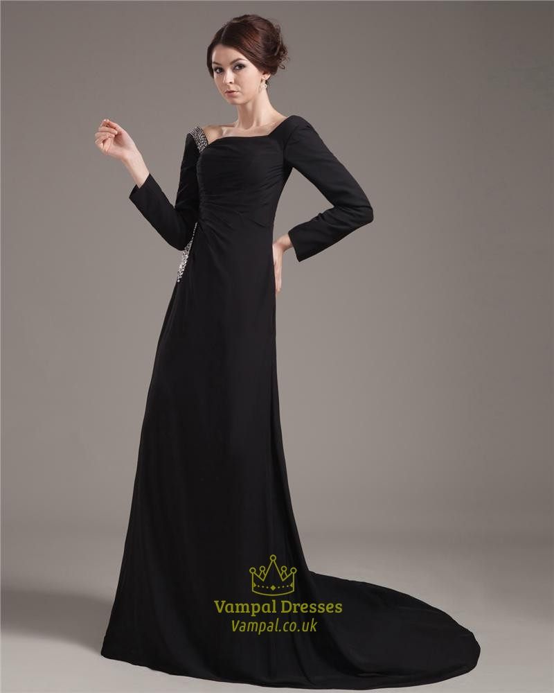 Black Prom Dresses With Long Sleevesformal Black Dresses With