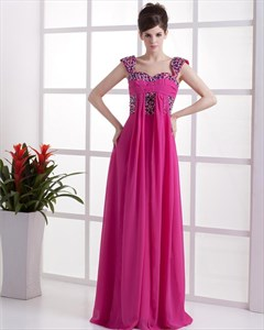 Fuchsia Prom Dresses 2021,Prom Dresses With Cap Sleeves
