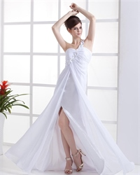 One Shoulder Maxi Dress With Split,White One Shoulder Top Maxi Chiffon Dress