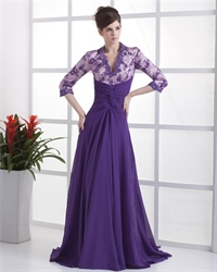 Purple Mother Of The Bride Dresses,Maxi Dresses With Long Sleeves