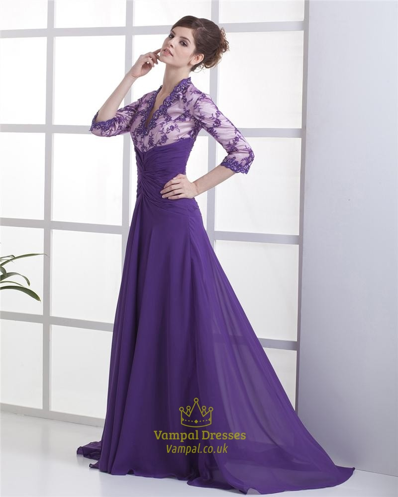 Purple Mother Of The Bride Dresses,Maxi Dresses With Long Sleeves ...