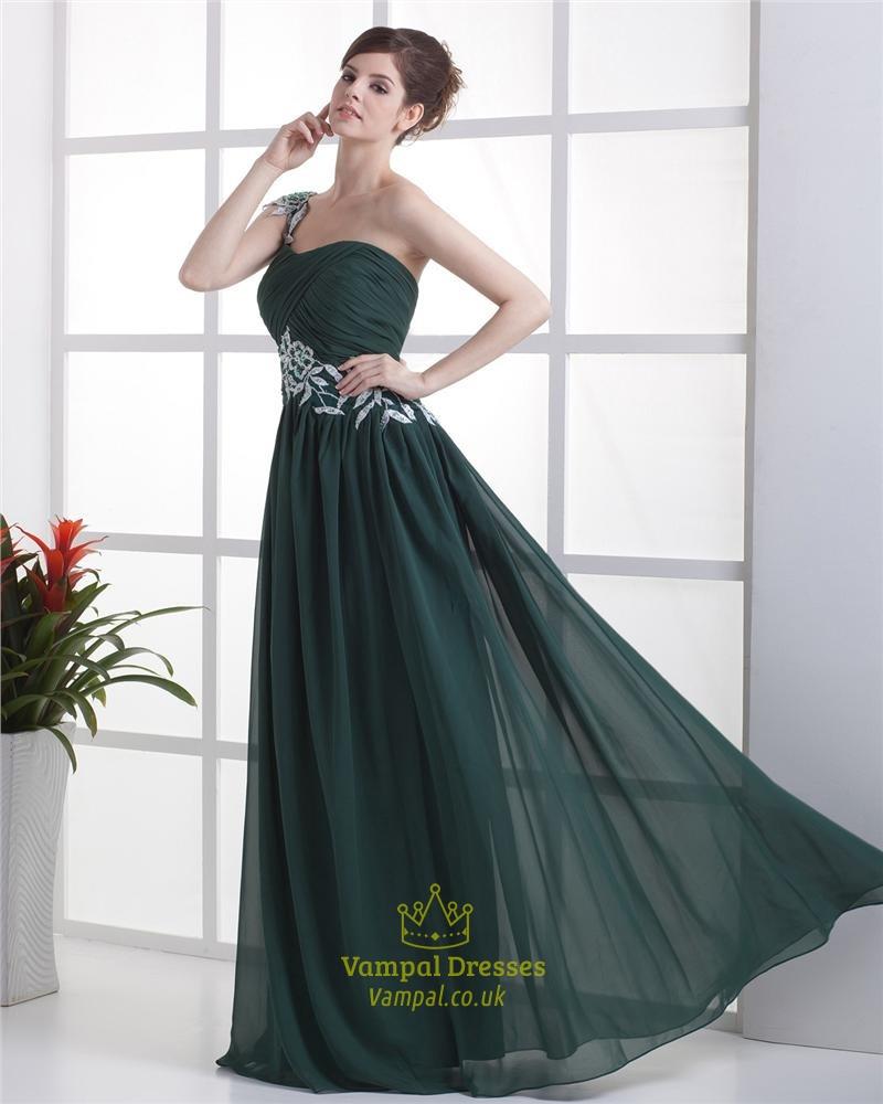 One shoulder emerald green bridesmaid dresses www for Forest green wedding dress
