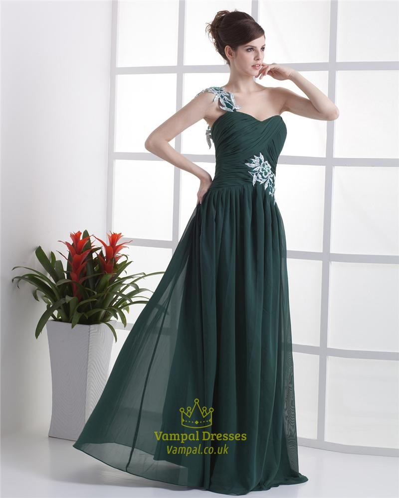 2bd4a06eb4ec Forest Green Dresses For Bridesmaids,Emerald Green One Shoulder Prom Dress