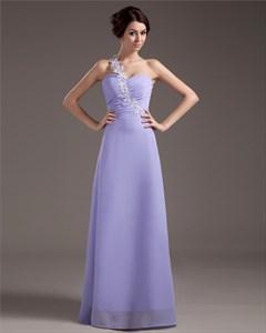 Lavender Bridesmaid Dresses Chiffon,Lavender One Shoulder Prom Dress