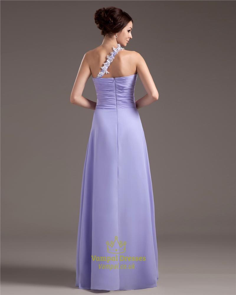 Lavender Bridesmaid Dresses Chiffon,Lavender One Shoulder Prom Dress ...