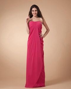 Hot Pink Strapless Dress,Hot Pink Dresses For Women
