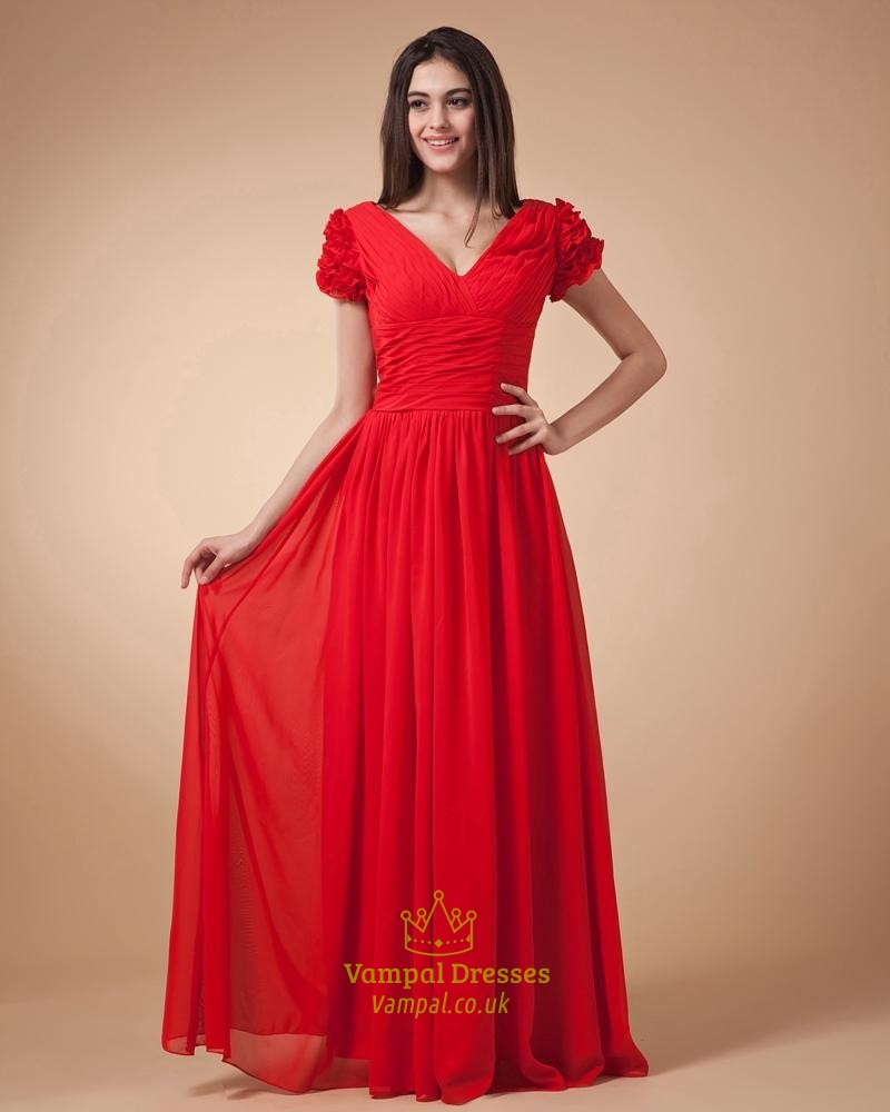 Red Cap Sleeve Dress,Red Prom Dresses With Sleeves | Vampal Dresses