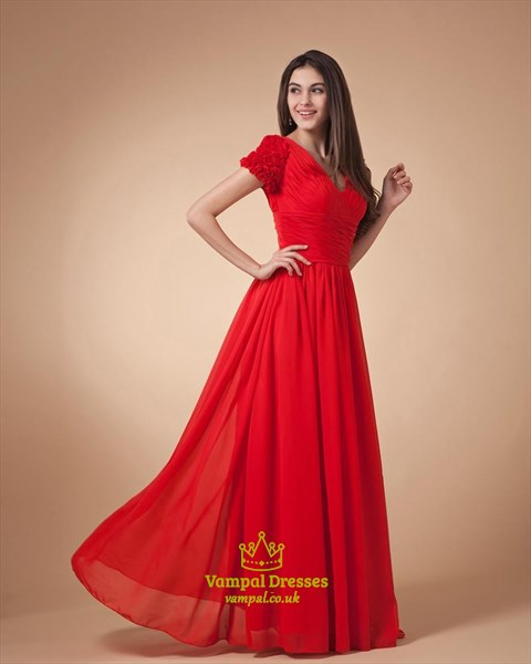 Red Cap Sleeve Dress,Red Prom Dresses With Sleeves