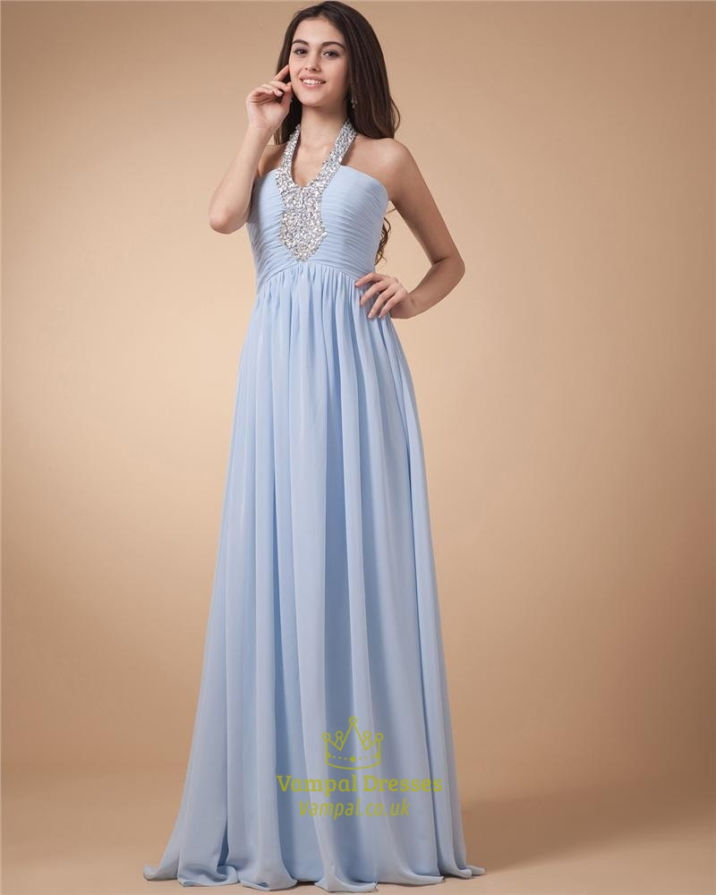 High Neck Halter Long Prom Dresses Open Back Beaded Top | Vampal Dresses