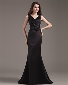 Long Black Mermaid Prom Dress,Black V Neck Prom Dress