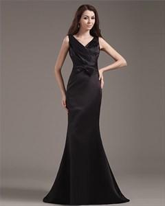 Long Black Mermaid Prom Dress,Black V Neck Prom Dress