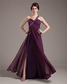 Purple One Shoulder Maxi Dress,Purple Prom Dresses UK