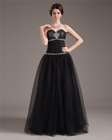Black Ball Gown Prom Dresses With Corset Bodice,Black Tulle Ball Gown