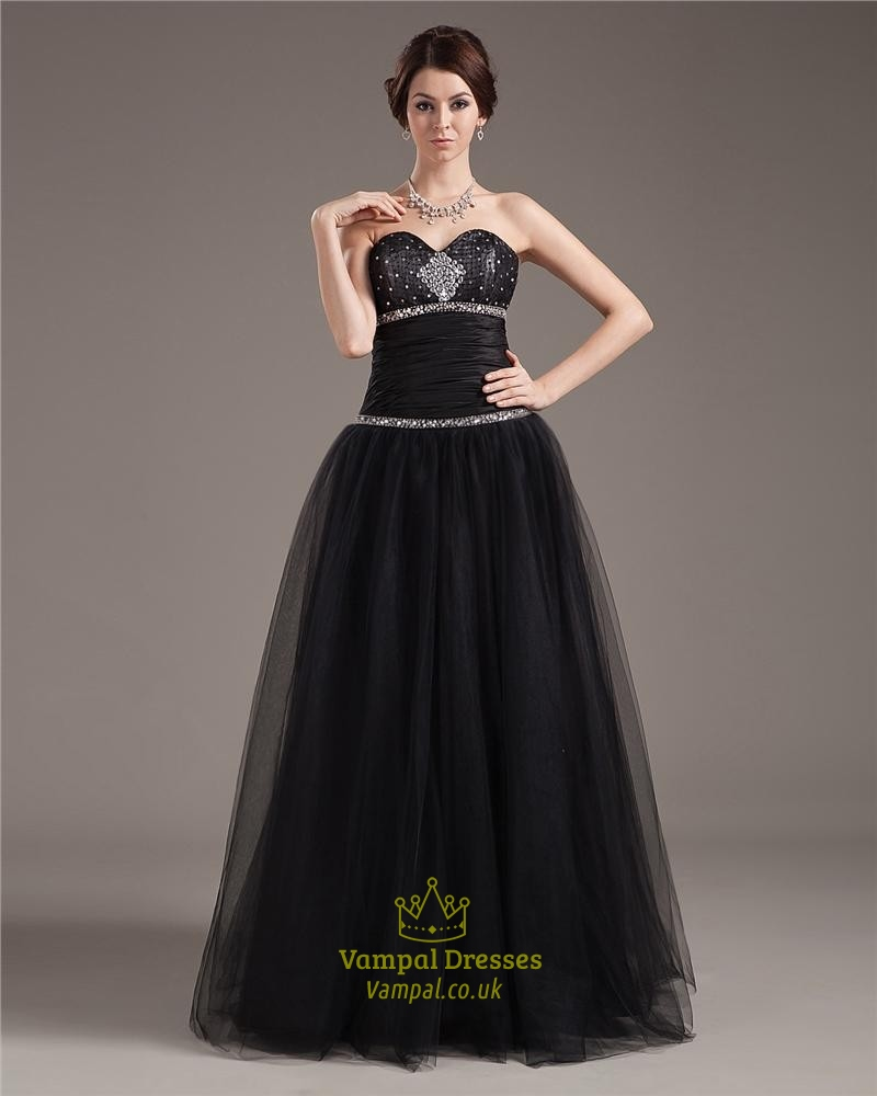 Black Ball Gown Prom Dresses With Corset Bodice,Black Tulle Ball ...