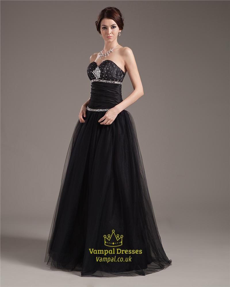 Black Ball Gown Prom Dresses With Corset Bodice,Black